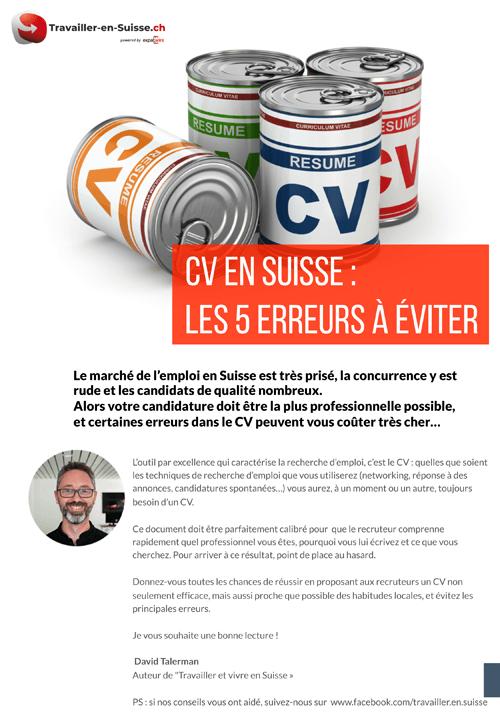 ebook CV pour la Suisse