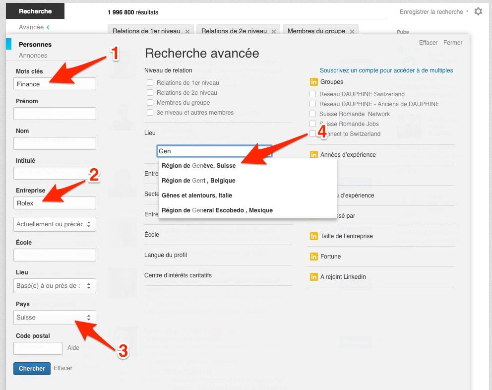 Exemple d'utilisation des fonctions avancées de recherche LinkedIn