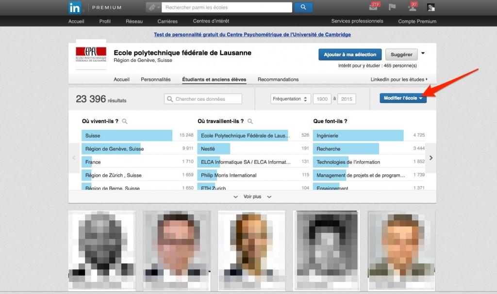 Fonctionnalité LinkedIn université - choix de l'école