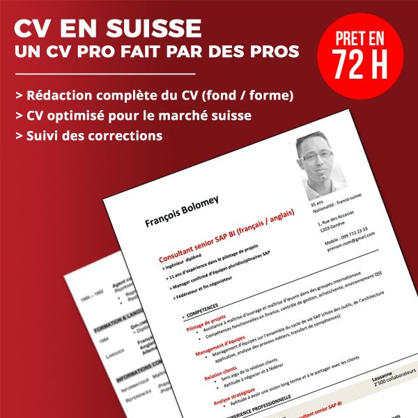 service de rédaction de CV pour la Suisse
